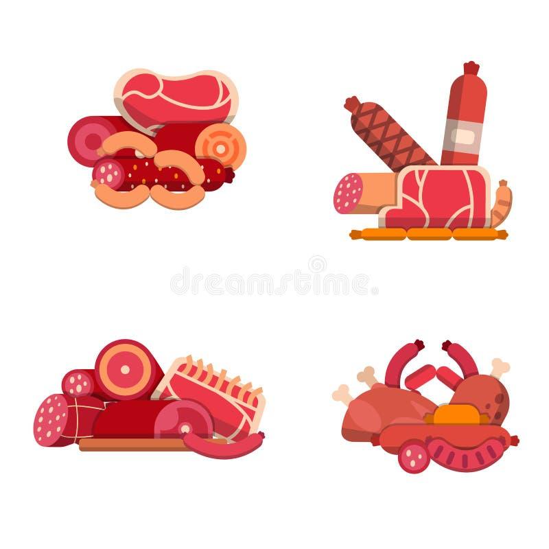 Vector vlakke vlees en worstenpictogrammenstapels geplaatst die op witte illustratie worden geïsoleerd als achtergrond stock illustratie