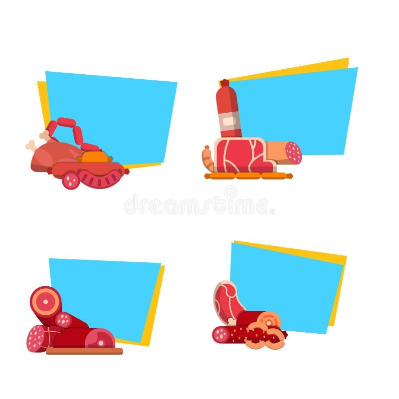 Vector vlakke vlees en worstenpictogrammenstickers met plaats voor tekst vastgestelde illustratie stock illustratie