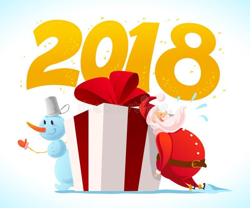 Vector vlakke vrolijke Kerstmisillustratie met sneeuwman, grote giftdoos met rode boog en de Kerstman op witte achtergrond stock illustratie