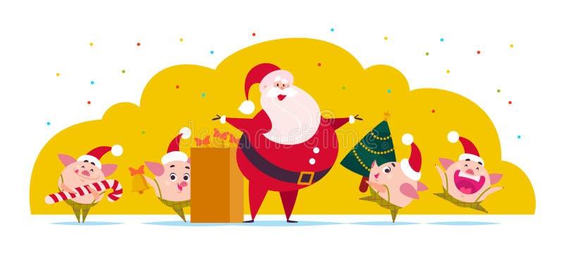 Vector vlakke Vrolijke Kerstmisillustratie: Santa Claus, leuk varkenself met verfraaide Nieuwe jaarspar, klokken, suikergoedlolly royalty-vrije illustratie