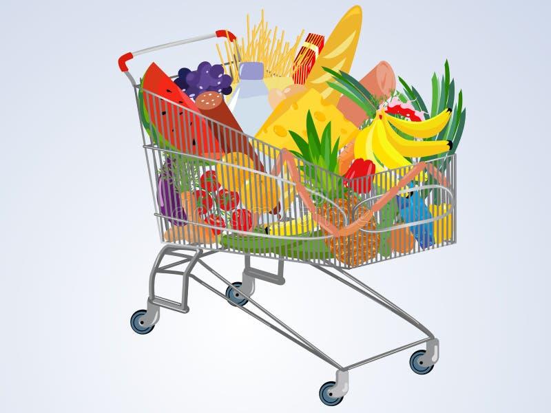 Vector volledige supermarktkar royalty-vrije illustratie
