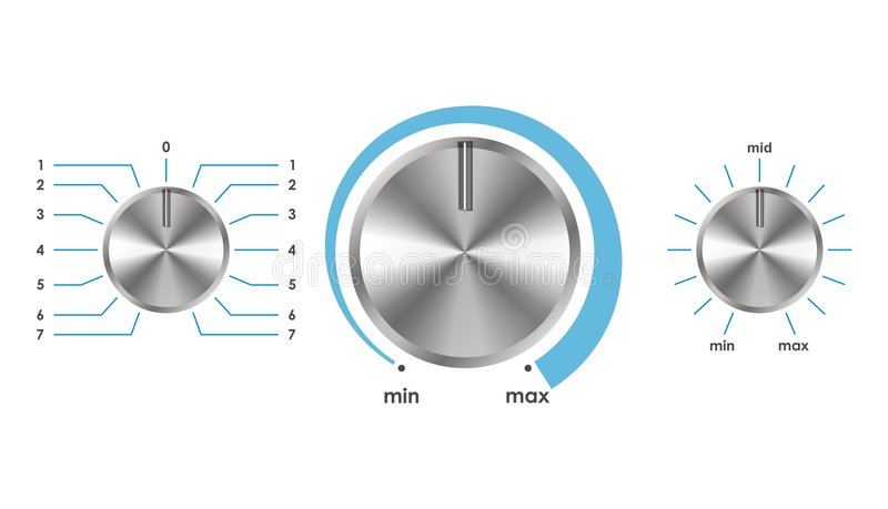 Vector volume balance knobs. Vector illustration of silver volume balance knobs vector illustration