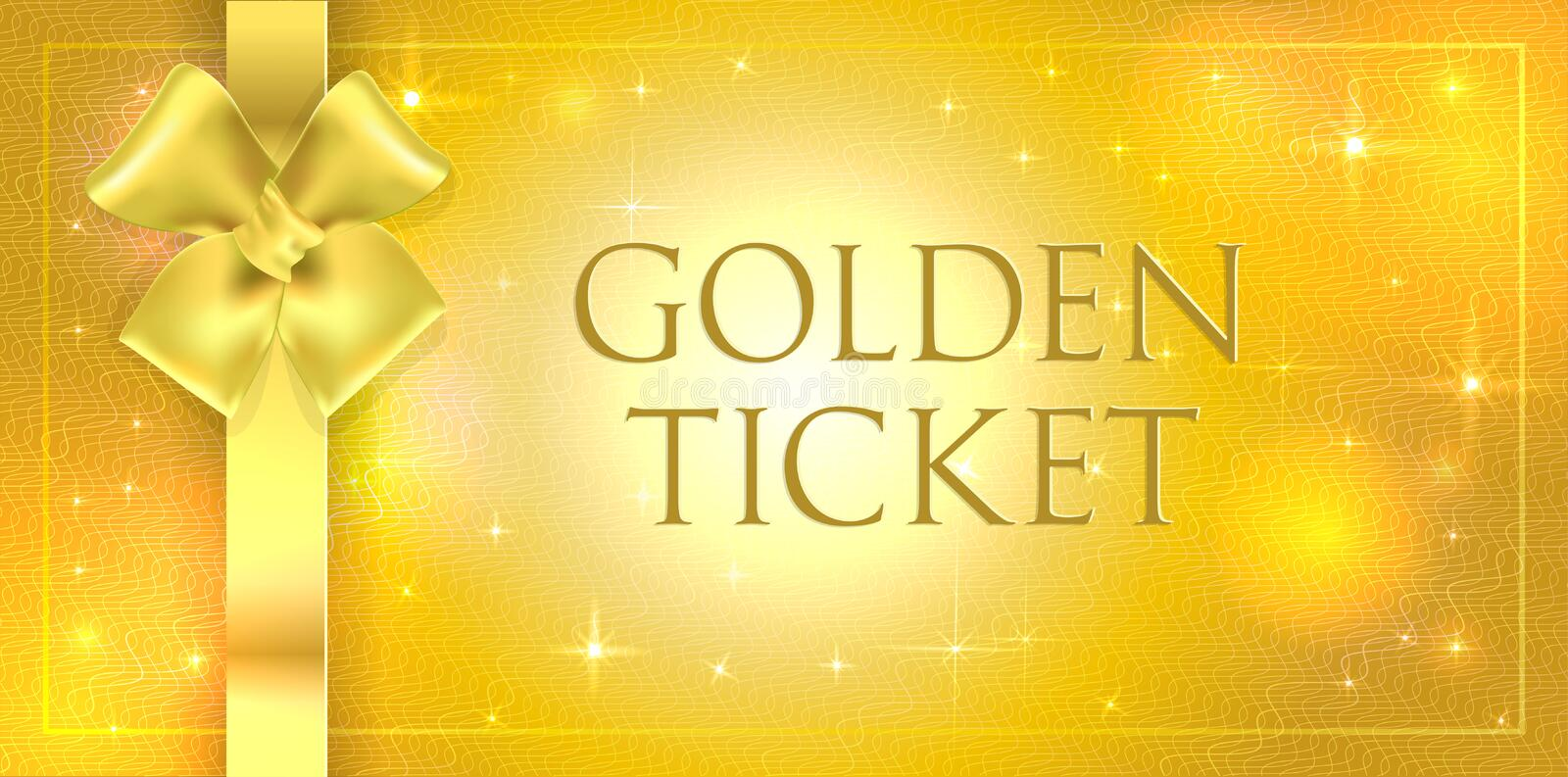 Vector volume Golden glitter background with gold silk double bow and ribbon. Gold ticket with star gloss shining with guilloche stock image