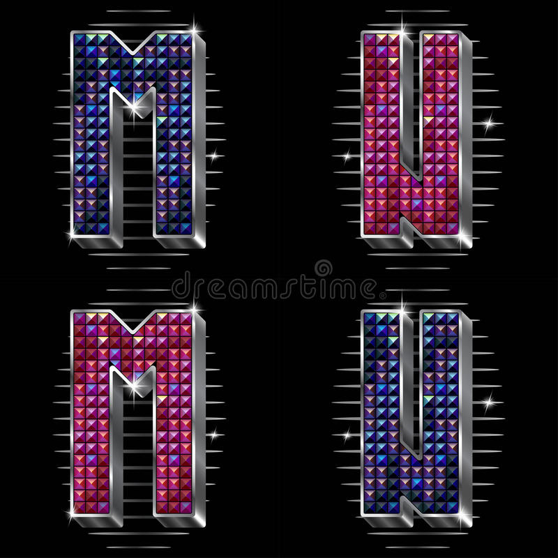 Download Vector Volume Letters M,N With Shiny Rhinestones Stock Vector - Illustration: 17561411