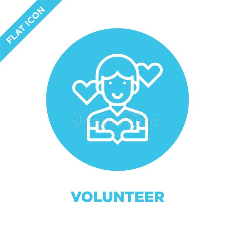 vector voluntario del icono de la colección de los elementos de la caridad Línea fina ejemplo voluntario del vector del icono del libre illustration