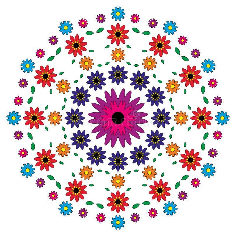 Vector volwassen het kleuren mandala van het boekpatroon bloeit gekleurd - bloemenachtergrond royalty-vrije illustratie