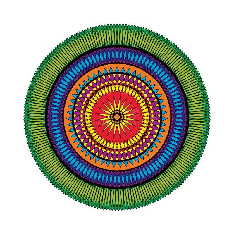 Vector volwassen kleurende gekleurde mandalaster van het boekpatroon - geometrische vormen vector illustratie