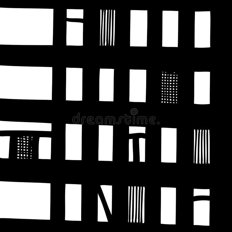 Vector von Hand gezeichnetes nahtloses Muster mit abstrakter städtischer Verzierung lizenzfreie abbildung