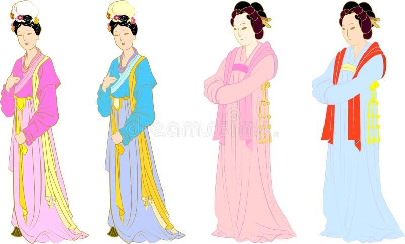 Vector voor Chinese vrouwen wordt geplaatst die vector illustratie