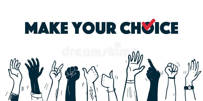 Vector vote illustration with human hands up isolated on white background. vector illustration