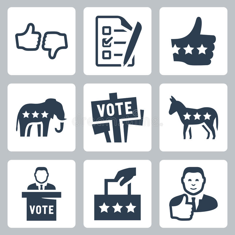 Vector voting and politics icons royalty free illustration