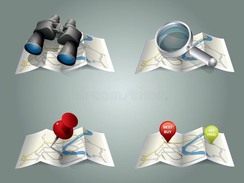 Vector vouwende kaart stock illustratie