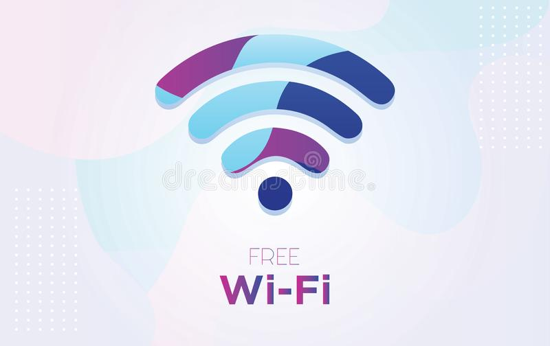 Vector vrij wifisymbool met dynamische geweven achtergrond in 3D stijl met blauwe en purpere kleur, - Vector stock illustratie