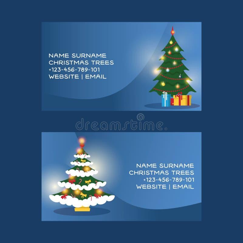 Vector vrolijk Kerstmisvisitekaartje van het Kerstmisadreskaartje met Kerstmis-boom en nieuw jaar zaken-kaart malplaatje stock illustratie