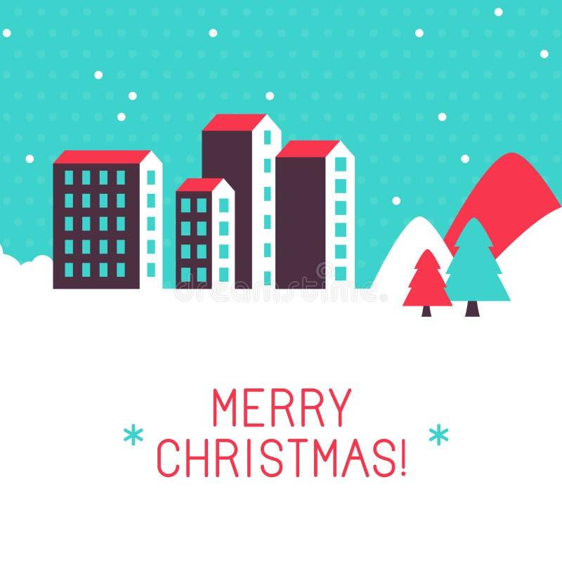 Vector vrolijke de groetkaart van Kerstmis stock illustratie