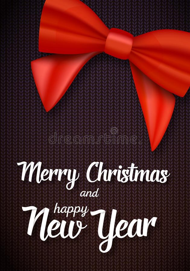 Vector vrolijke de groetkaart van Kerstmis Realistisch Rood Lint met Vrolijke Kerstmis en het Gelukkige Nieuwjaardocument Van let vector illustratie