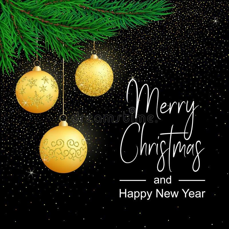 Vector Vrolijke Kerstkaart met gouden ballen op donkere achtergrond royalty-vrije illustratie