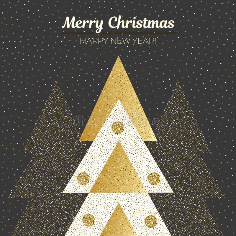 Vector Vrolijke Kerstmis en Gelukkig Nieuwjaarontwerp Vierkante kaart met Kerstbomen in zwarte, gouden en witte kleuren vector illustratie