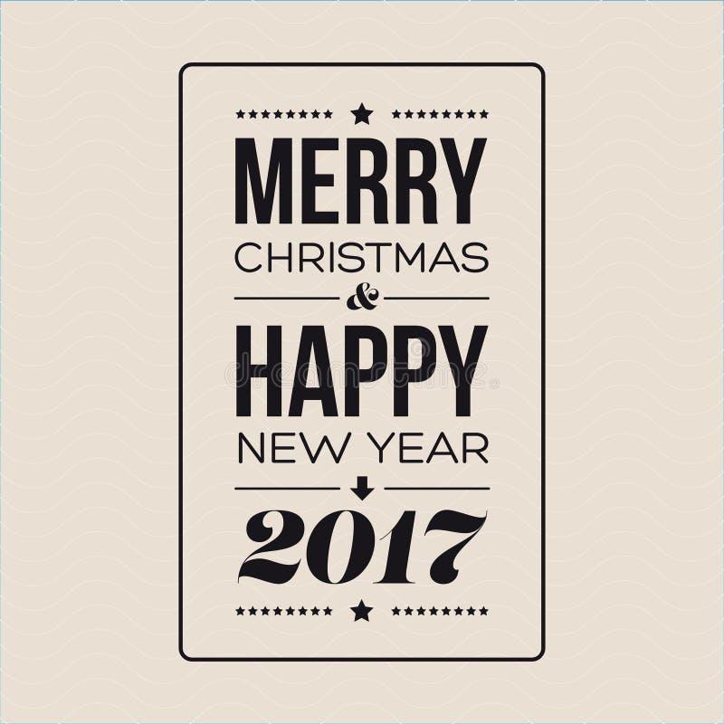 Vector Vrolijke Kerstmis en Gelukkig Nieuwjaarskaartontwerp stock illustratie
