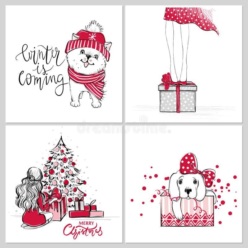 Vector Vrolijke Kerstmis en Gelukkige Nieuwe jaarinzameling met leuke groetkaarten vector illustratie