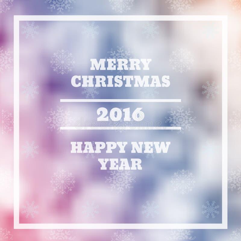 Vector Vrolijke Kerstmis en het Gelukkige onduidelijke beeld eps 1 van het Nieuwjaarskaartontwerp royalty-vrije illustratie