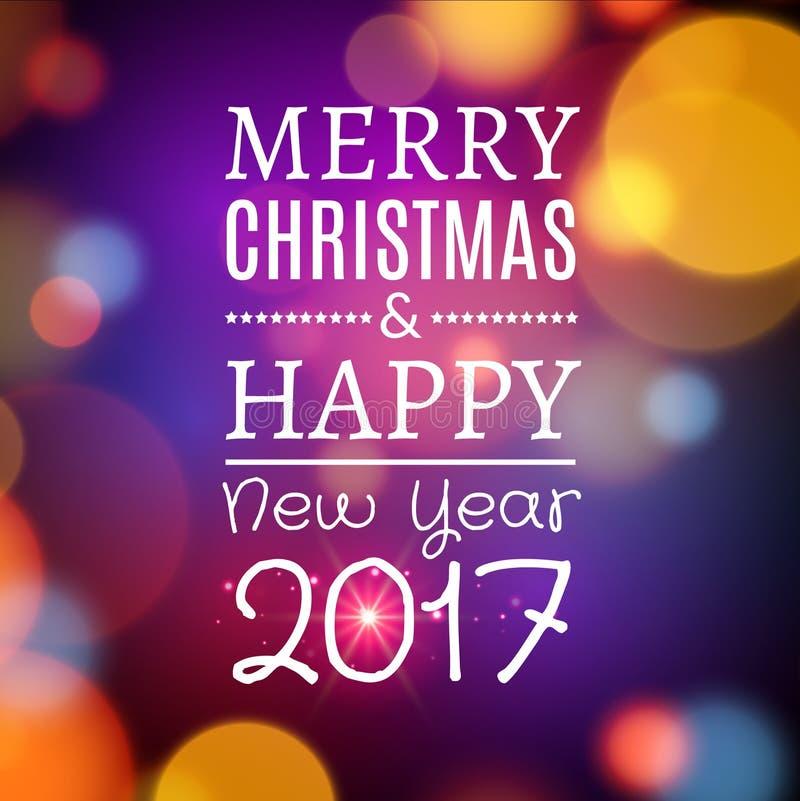 Vector Vrolijke Kerstmis en het Gelukkige ontwerp van de Nieuwjaarskaartaffiche Uitnodigingsillustratie stock illustratie