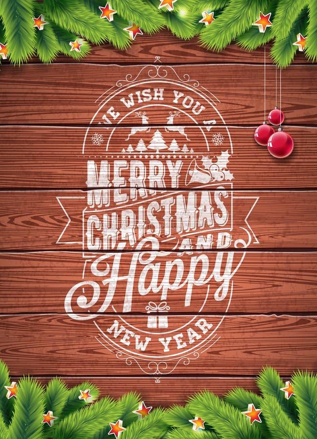 Vector Vrolijke Kerstmisvakantie en Gelukkige Nieuwjaarillustratie met typografisch ontwerp en sneeuwvlokken op wintage houten ac stock illustratie
