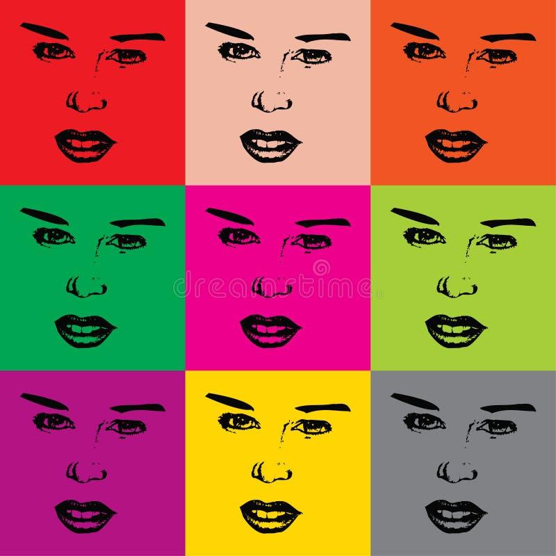 Vector vrouwengezichten royalty-vrije illustratie
