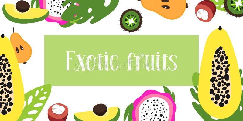 Vector vruchten Ruwe illustratie van vlak fruit Plaats voor tekst royalty-vrije illustratie