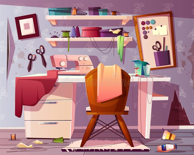 Vector vuile kleermakersruimte Knoei in studio stock illustratie