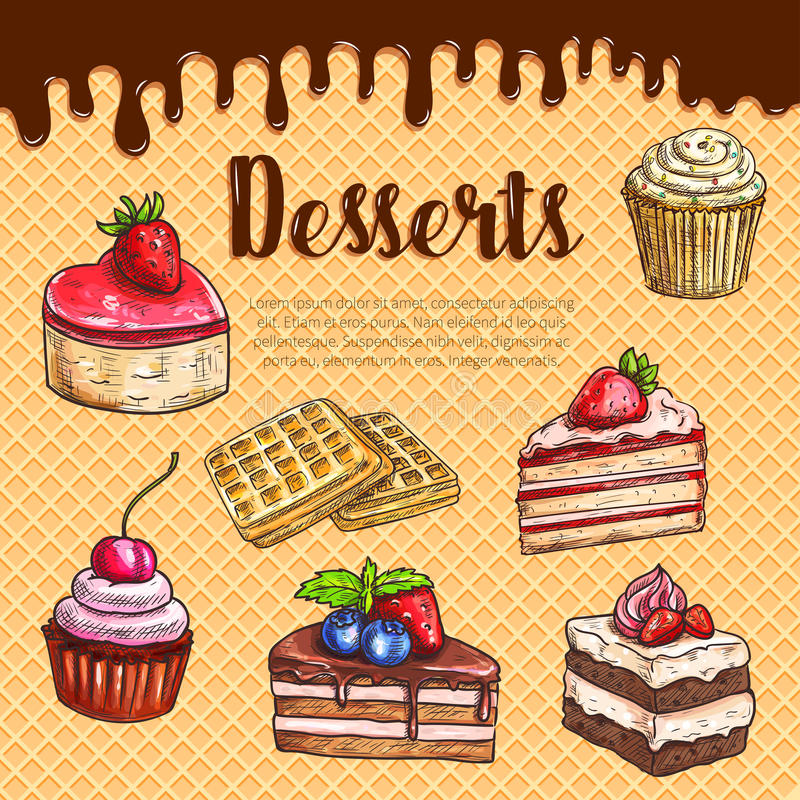 Vector waffle poster with dessert cake pies. Desserts, bakery and pastry on waffle. Vector cakes and cupcakes, biscuits of cheesecake, tiramisu and brownie torte royalty free illustration