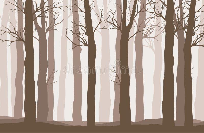 Vector Waldlandschaft mit braunen Schattenbildern von Bäumen vektor abbildung
