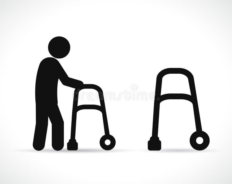 Vector walker disabled black icons. Vector illustration of walker disabled black icons royalty free illustration