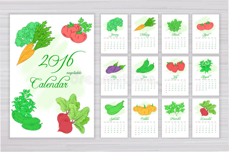 Vector wall calendar with pages for each month with different vegetables vector illustration