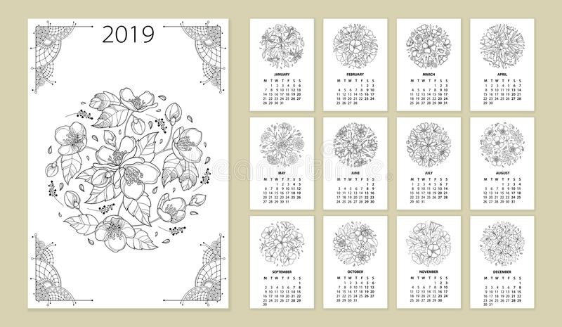 Vector wall calendar for 2019 year with outline round flower bouquet in black. Cover with ornate Jasmine flower bunch. stock illustration