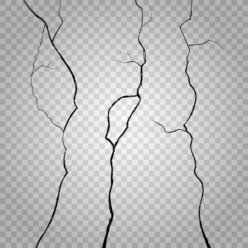 Vector wall cracks on transparent checkered background vector illustration