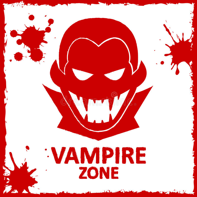 Vector wall graffiti. Vampire zone. Vector wall graffiti about vampire. Red color stock illustration