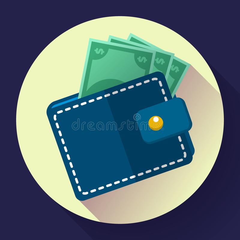 Vector Wallet and Money Icon. Flat Vector Wallet and Money Icon with long shadow stock illustration