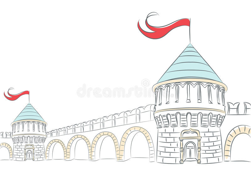 Vector walls and towers of a medieval castle royalty free stock image