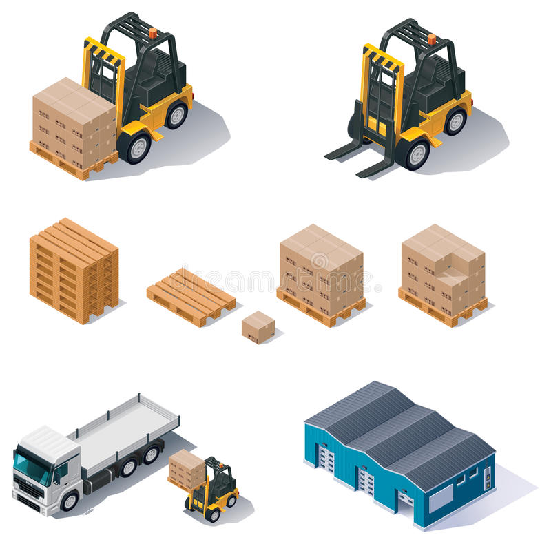 Vector warehouse equipment icon set royalty free illustration