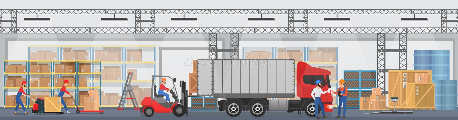 Vector Warehouse interior with workers arranging goods on the shelves and dip boxes into a truck. Warehouse modern. Interior wirh cargo truck stock illustration