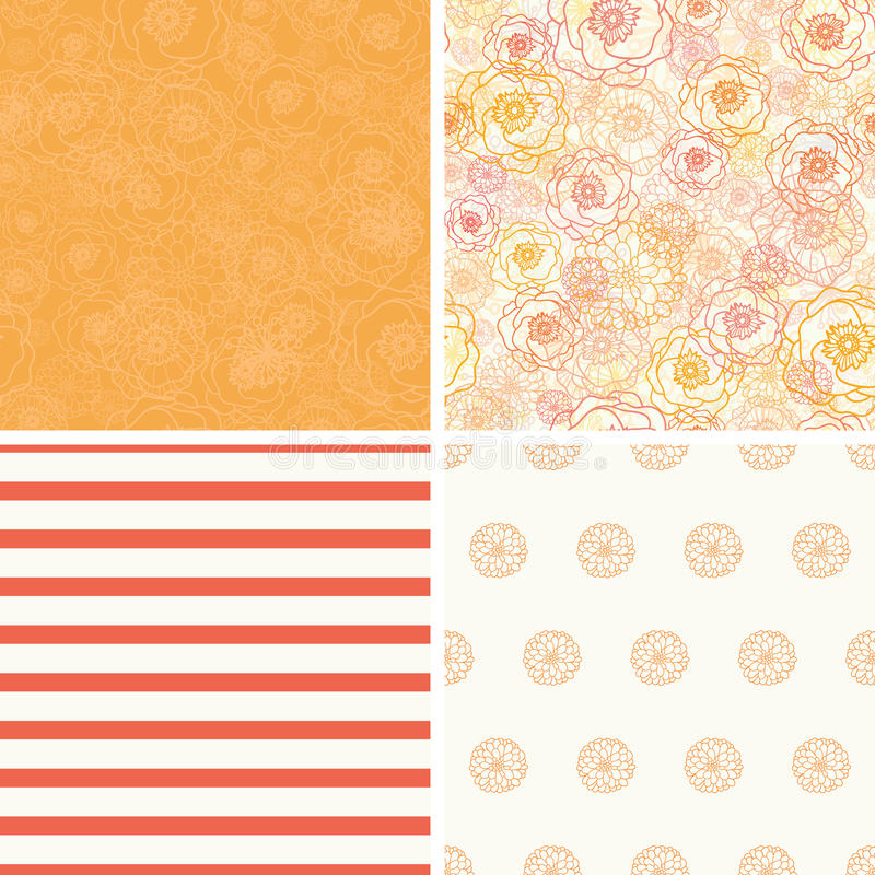 Vector Warm Flowers Set of Four Matching Repeat vector illustration