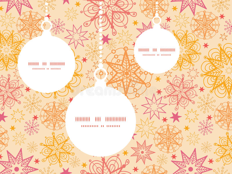 Vector warm stars Christmas ornaments silhouettes. Pattern frame card template graphic design stock illustration
