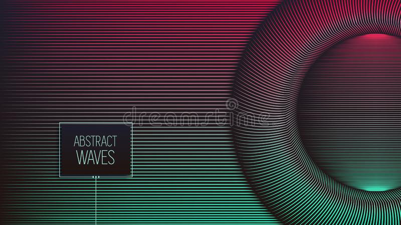 Vector warped lines background. Fluent colorful stripes with variable width. royalty free illustration
