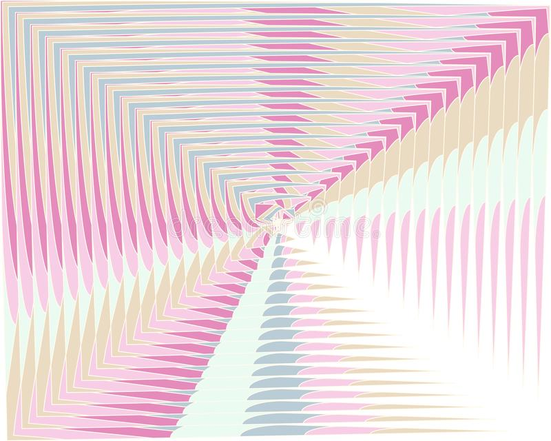 Vector warped lines colorful iridescent background. Modern abstract creative backdrop with rainbow colored variable width stripes. Twisted stripes optical royalty free illustration