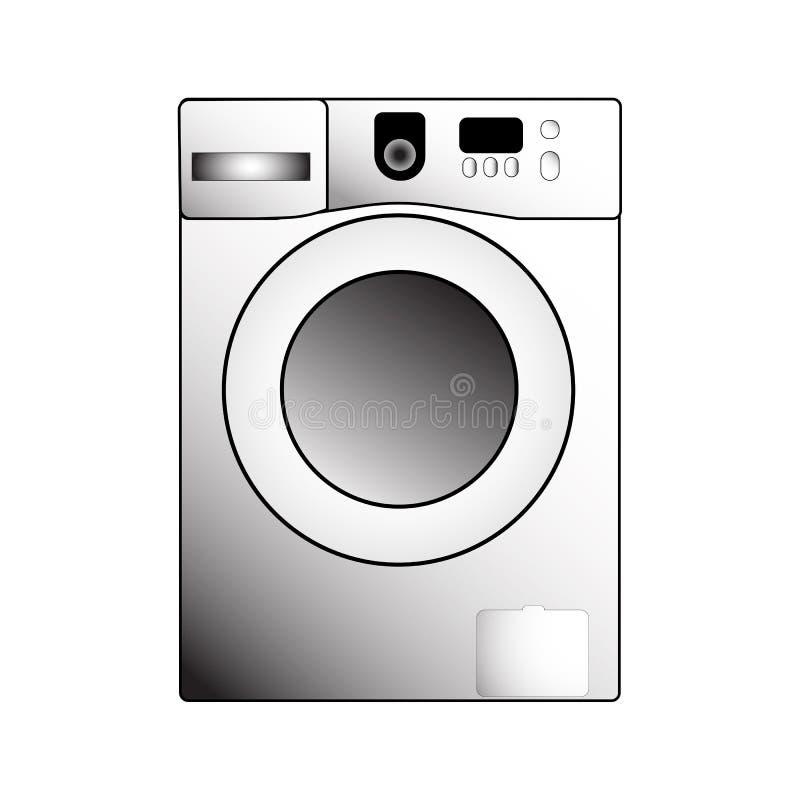 Vector washing machine illustration on a white background stock illustration