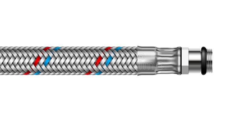 Vector Wasser geflochtenen Schlauch mit der Ausstattung des kleinen Durchmessers vektor abbildung