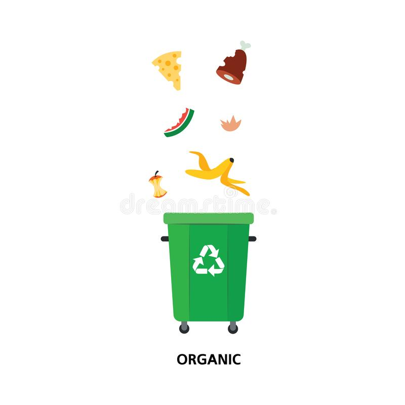 Vector waste bin, trash recycling and separation. Vector recycle bin for trash separtion. Organic waste garbage container with banana, apple watermelon peel stock illustration