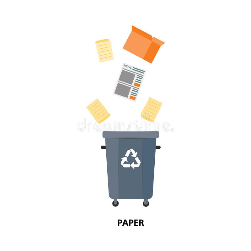 Vector waste bin, trash recycling and separation. Vector recycle bin for trash separtion. Paper waste garbage container with newspapers, magazines, cardboard stock illustration