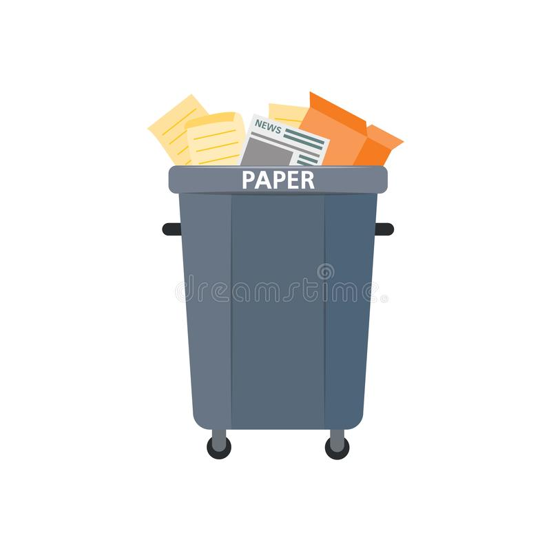 Vector waste bin, trash recycling and separation. Vector recycle bin for trash separtion. Paper waste garbage container with newspapers, magazines . Dump royalty free illustration